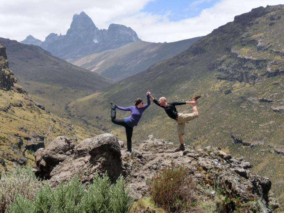 Yuri and Lisa on the decent from Mt. Kenya in the Dancer Pose.